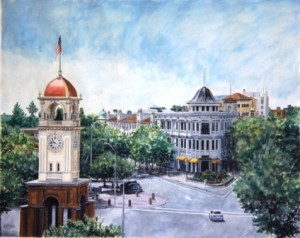 Painting of Front St. and Pacific Ave, Clock Tower in foreground.