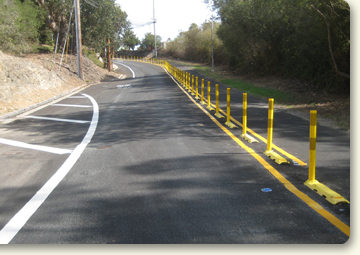 photo of road centerline barrier treatment