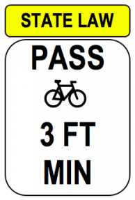 Sign: State law pass bike 3 ft min